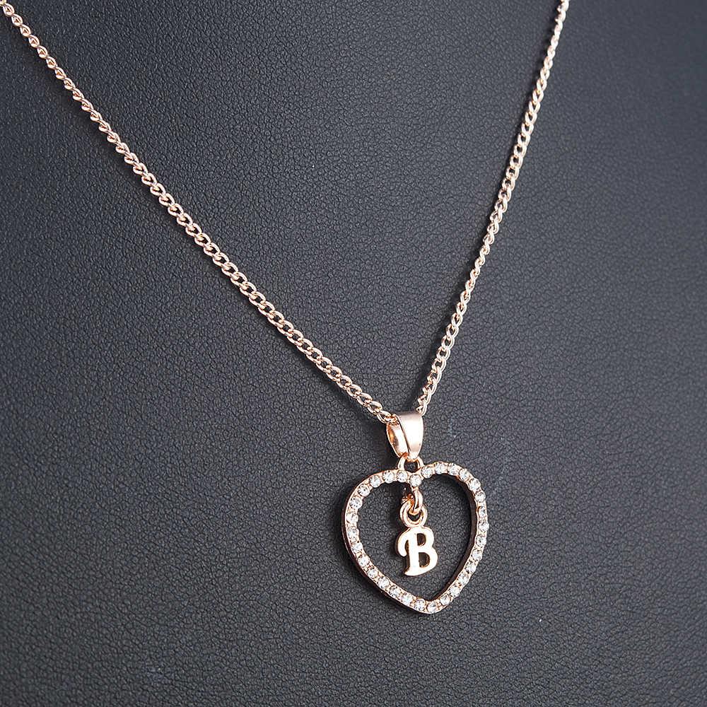 Romantis Cinta Liontin Kalung untuk Anak Perempuan 2019 Wanita Berlian Imitasi Huruf Awal Kalung Alfabet Emas Kerah Baru Trendi Pesona