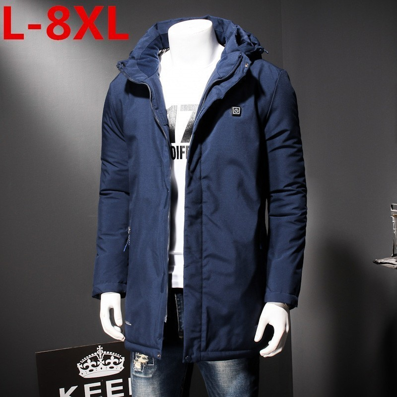 Plus Size 8XL 7XL 6XL  Fashion Winter New Jacket Men Warm Coat Fashion Casual Parka Electric Heat Coat Men For Winter Overcoat