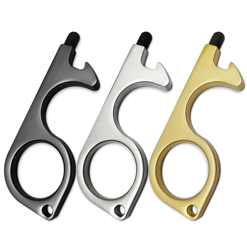 Key Door Opener Elevator Press Handle Safe Keychain Zero-touch Key Ring Touch Pen Stylus For Ipad Iphone Mobile Phone Artifact