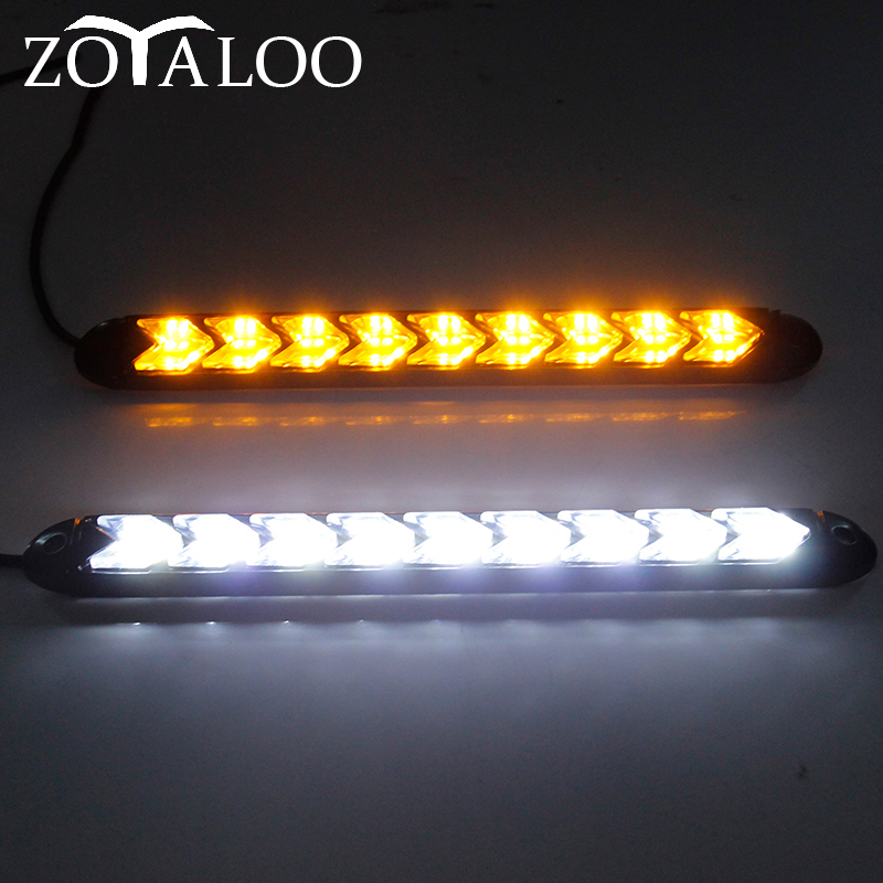 2pcs Car DRL LED Universal Daytime Running Light Waterproof Headlight Strip Sequential Flow Yellow Turn Signal White DRL Light