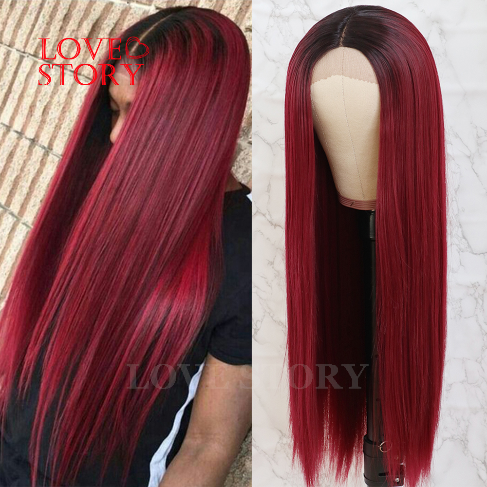 Lovestory Middle Part High Temperature Fiber Lace Wig Ombre Color Straight Synthetic Lace Front Wigs