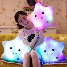 1 шт плюшевые яркие красочные звезды подушка игрушки светодиодный