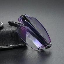 360 óculos de leitura dobráveis gafas lectra mujer anti-blu-ray sem aro óculos de computador com diopter + 100 a + 400