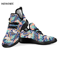 INSTANTARTS Comfortable Mesh Women's Flats Colorful Sloth Printing Casual Platform Sneakers Autumn Outside Footear for Girl