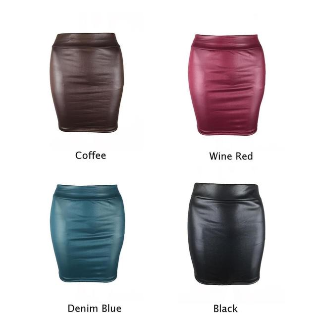 Black Leather Skirt Women Ladies High Waisted Hot Skirt Wet look Elasticated Waist Bodycon