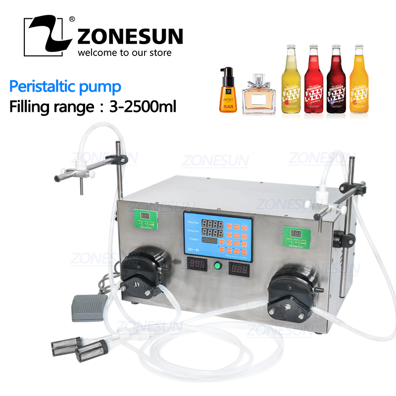 ZONESUN 2 Heads Perfume Water Juice Essential Oil Alcohol Hydrogen Peroxide Peristaltic Pump Liquid Filling Machine 3-2500ml