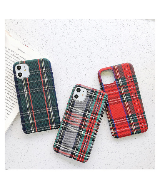 Fashion Simple Cloth Cases For iPhone 11 Pro Max XS X XR 6 6S 7 8 Plus Soft Silicone Slim Warm Plush Plaid Fabric Cover iPhone11