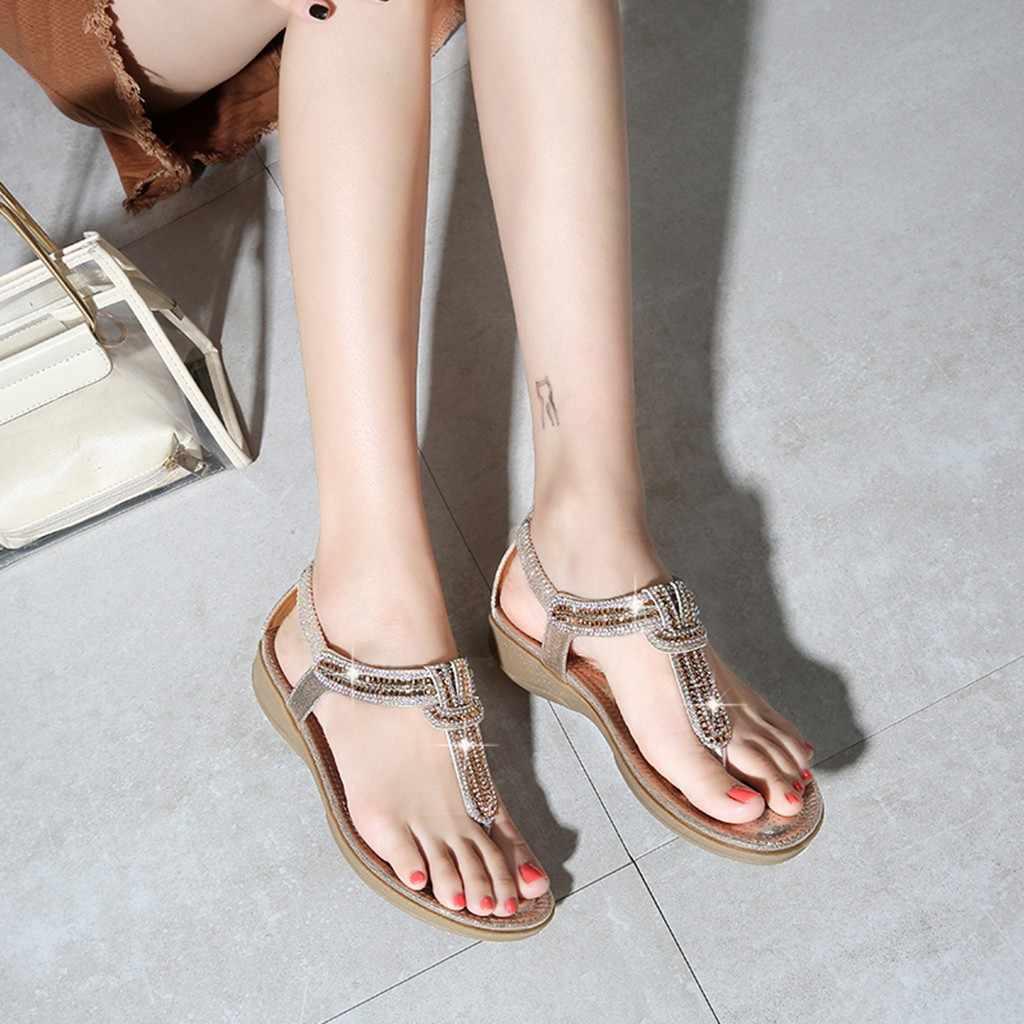 Vrouwen Schoenen Zomer Dames Bohemen Bling Kristal Platte Sandalen Strand Toevallige sandali donnazapatos de mujer de moda 2019