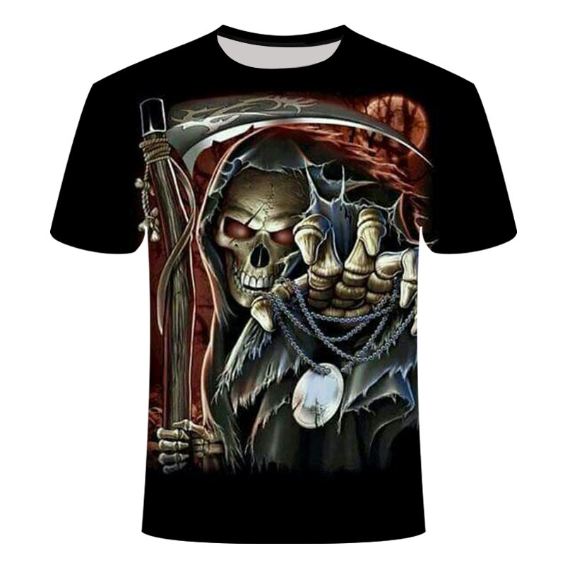 Drop Ship Summer NewFunny skull 3d T Shirt Summer Hipster Short Sleeve Tee Tops Men/Women Anime T-Shirts Homme Short sleeve tops 8