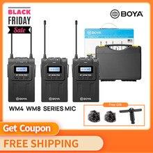 Boya wm4 pro k2 k1 BY-WM6 BY-WM5 BY-WM8 sistema de microfone sem fio uhf omni-direcional lavalier microfone para eng efp dv dslr