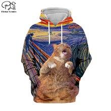 PLstar Cosmos Funny Scream Cartoon Cat Animal Tracksuit Casual 3D Print Hoodie/Sweatshirt/Jacket/shirts Men Women Harajuku S-1 cartoon cat print sweatshirt