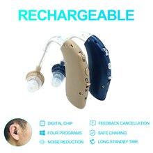 Mini audífono Digital BTE recargable por USB, amplificador de sonido para pérdida auditiva suave a severa, envío directo