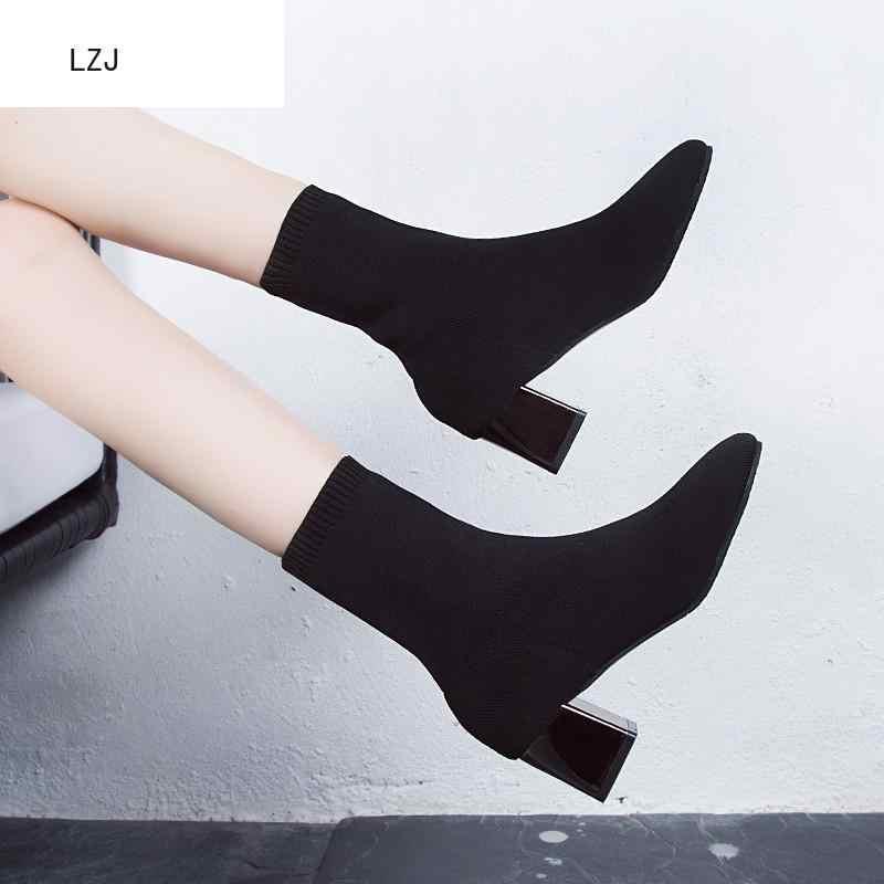 2019 Kadın Siyah Ayak Bileği Çorap Çizme 2019 Moda Bahar Sonbahar sıcak Tıknaz Yüksek Topuklu Sivri Burun Ayakkabı Kış Zapatos De mujer