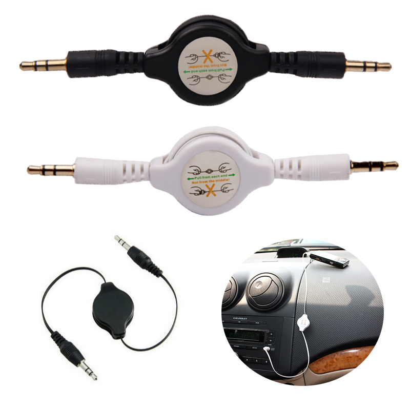 80CM 3.5mm Retractable Earphone Jack Aux Audio Cable For Car Iphone Samsung Phone GPS MP3 MP4 Music Headphone Stereo Speaker