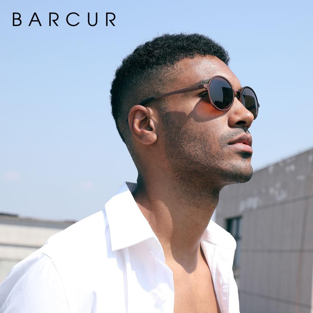 BARCUR Hot Black Goggle Male Round Sunglasses Luxury Brand Men Glasses Retro Vintage Women Sun glasses UV400 Retro Style 3