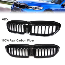 цена на Racing Grill for BMW New 3 Series G20 G28 2019-in ABS/Carbon Fiber Car Front Sport Grill Single Slat Kidney Front Bumper Grille