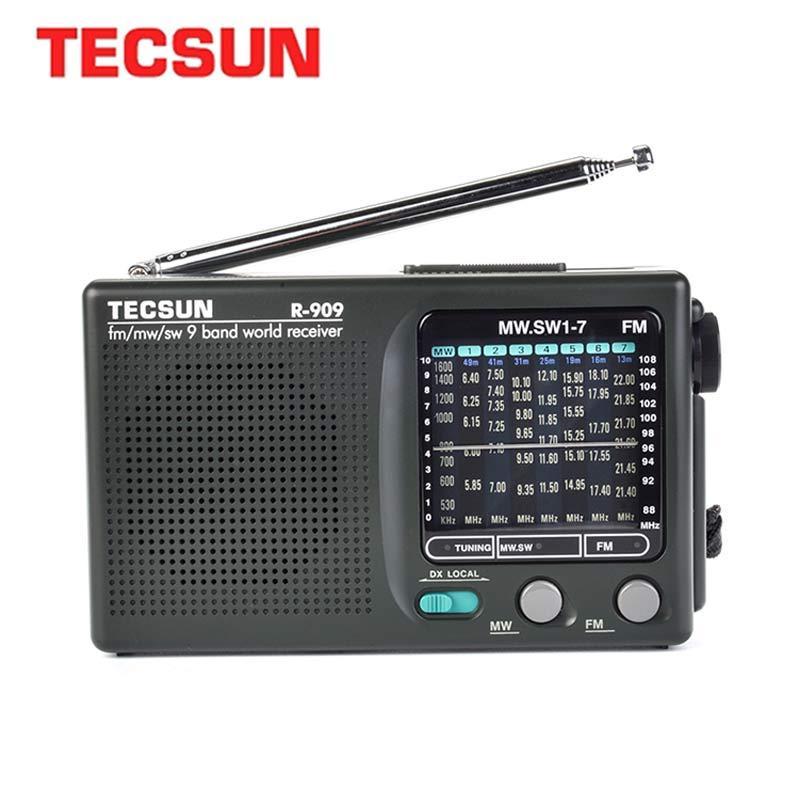 TECSUN R-909 AM/FM/SW Radio 1-7 9 Bands World Band Receiver Portable Radio FM: 87.0-108MHz/ŸMW: 525-1610 kHz Retro Radio