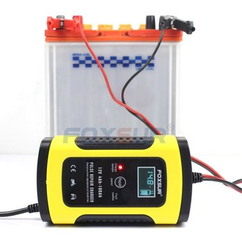 Pulse Repair Charger 12V Full Automatic Car Battery LCD Display Motorcycle Pulse Repair Battery Intelligent Fast Power Charging image