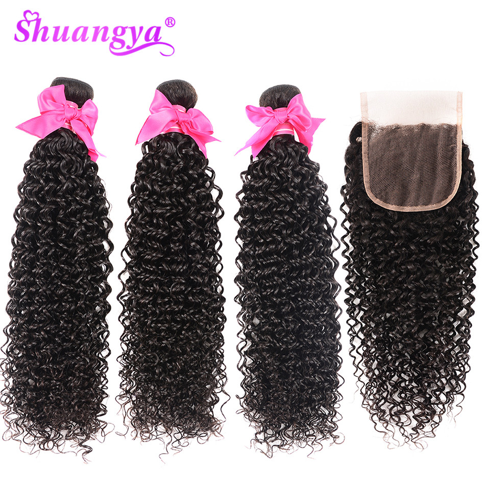 Shuangya 髪マレーシア変態カーリーバンドル閉鎖 100% 人間の髪のバンドル閉鎖 Remy 毛 3/4 バンドルと閉鎖  グループ上の ヘアエクステンション & ウィッグ からの 3/4 バンドル留め具付き の中 1
