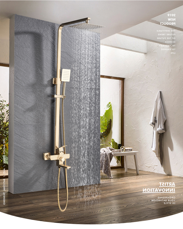 Ha39680a3e28945e980d5970ef05a3910I POIQIHY Black Bathroom Shower Faucet Set Wall Mount Black 8''Rainfall Shower Head With Handheld Sprayer Bathtub Shower Mixer