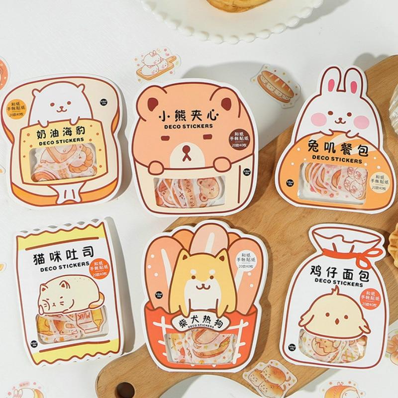 40PCS/LOT Yammy Bread Cute Cartoon Paper Sitckers Pack 85*116mm