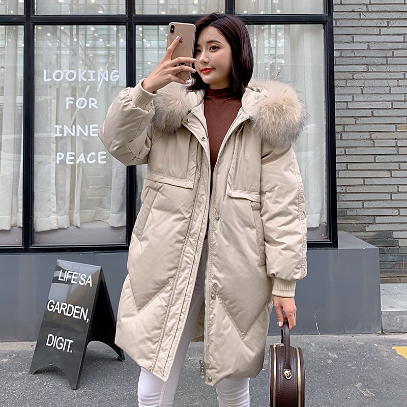 2020 Natural Racoon Fur Duck Down Jacket Women Winter Long Coats Plus Size Women's Park Abrigos Mujer Outwear B19R02099