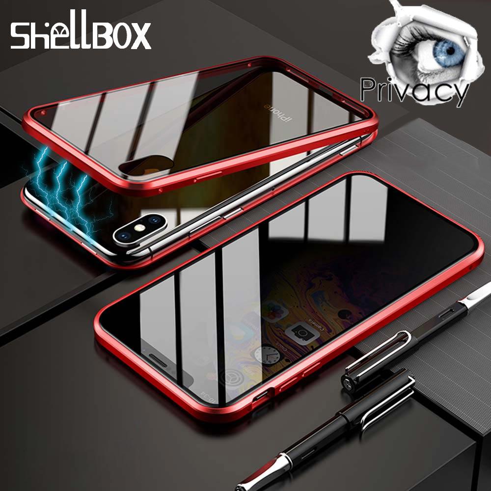 Privatsphäre Gehärtetem Glas Magnetische Fall Für iPhone XS MAX XR X 7 8 Plus Magnet Doppel Seite Glas Anti- peeping Volle Schutz Abdeckung