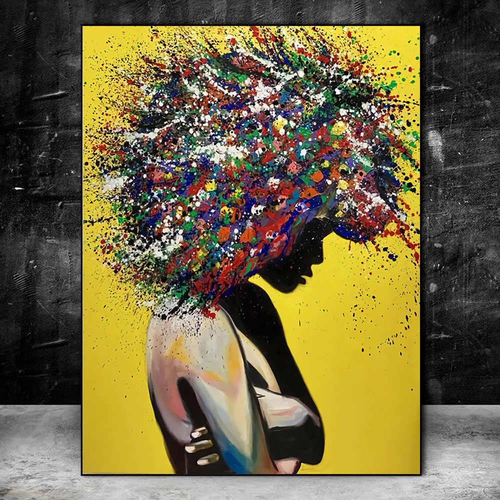 Abstract Wall Art Canvas Prints Yellow Color Wall Graffiti Art Paintings Posters