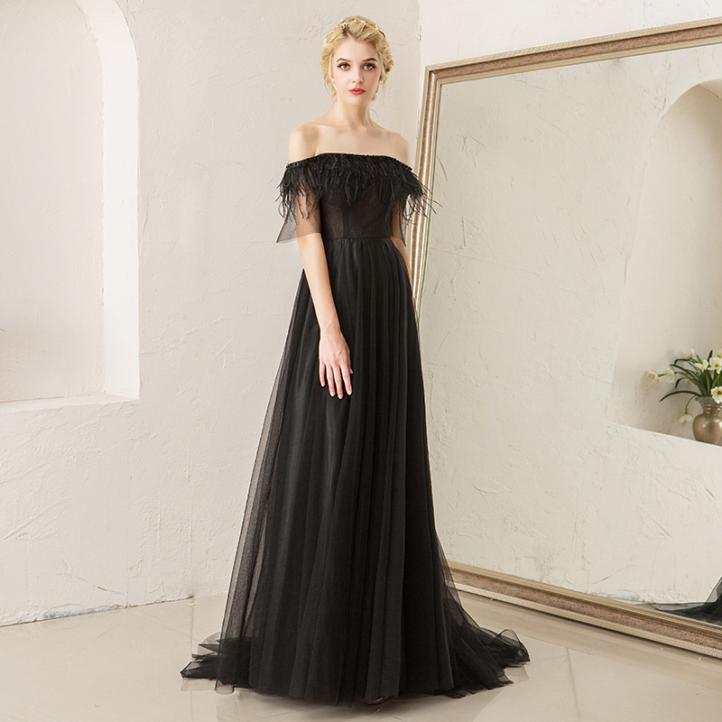 Evening Dresses Black A Line Floor Length Formal Gowns Sexy Boat Neck Women Party Dress Backless Sleeveless Robe De Soiree E563