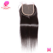 QUEEN BEAUTY HAIR Brazilian Straight Hair Closure 4x4 Remy Human Hair Free Part Lace Closure Bleached Knots With Baby Hair(China)