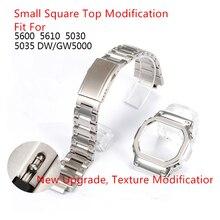 Caja de bisel para correa de reloj de plata para DW5600 GW5000 GW M5610 316L, correa de Metal de acero inoxidable, reparación de pulsera con herramientas de regalo