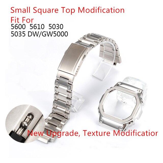 الشظية Watchband الحافة الحال بالنسبة DW5600 GW5000 GW M5610 316L الفولاذ المقاوم للصدأ المعادن حزام سوار إصلاح مع أدوات هدية