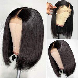 Image 3 - 13X4 ตรง BOB Lace ด้านหน้า Wigs ก่อน Plucked Bleached Knots สั้นตรงผมลูกไม้ด้านหน้า Wigs อินเดีย Remy วิกผมสำหรับผู้หญิง