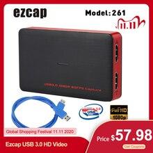 Ezcap USB 3.0 HD 비디오 게임 캡처 1080P 비디오 컨버터 라이브 Sreaming 플러그 앤 플레이 XBOX One PS4 Windows 용 HD 입력 출력