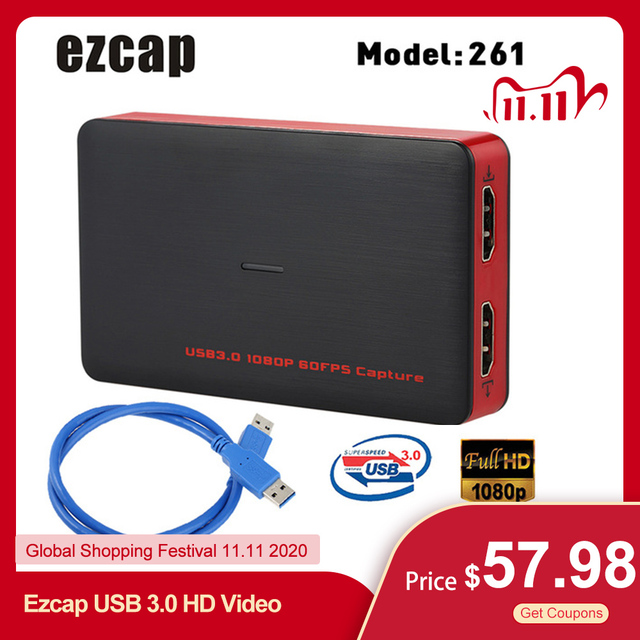 Ezcap USB 3.0 HD וידאו לכידת משחק 1080P וידאו ממיר לחיות Sreaming תקע ולשחק HD קלט פלט עבור XBOX אחד PS4 Windows