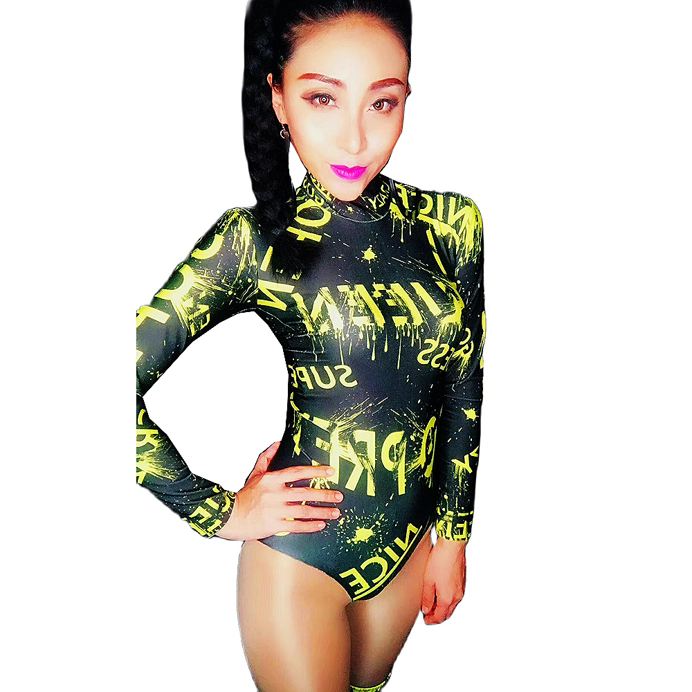 Personality Performance Costume Ladies Letter Pattern Printing Two-Piece Suit Nightclub Dance Show Wear Backless Bodysuit