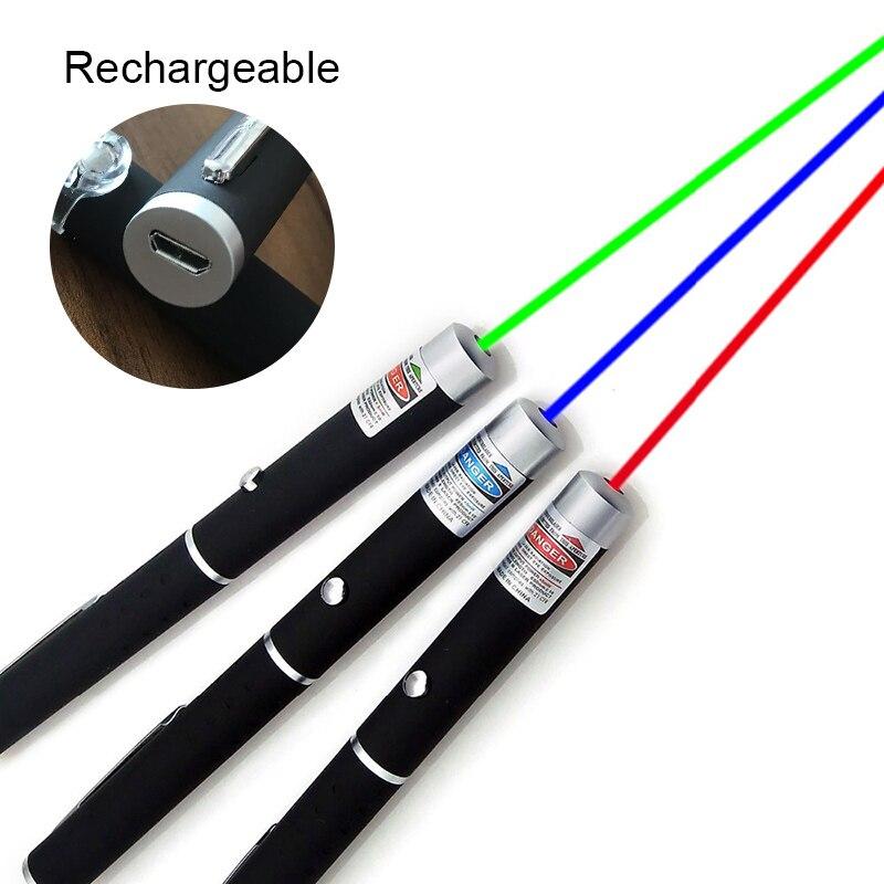 Novo usb de carregamento usb 5mw 650nm caneta laser verde preto forte luz visível feixe laserpointer 3 cores com bateria brinquedo do gato do animal estimação