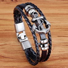 LY Charm Rock Punk  Multilayer Braided Mens Bracelets Stainless steel Bangle Handmade Leather Hooks !