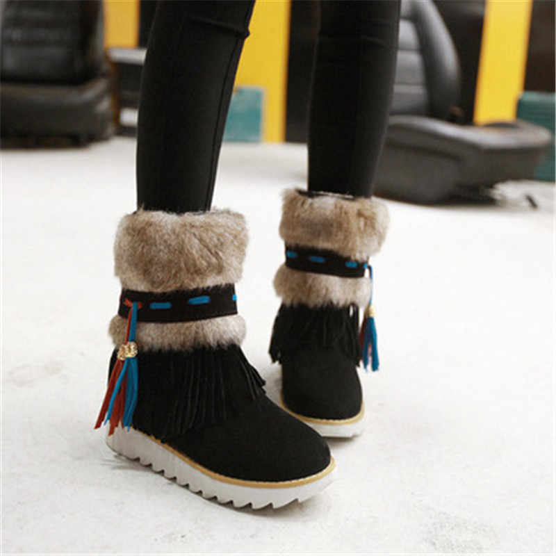 Jesień i zima śnieg płaskie buty kobiet frędzle pogrubienie matowy retro kobiet buty w tubie bawełniane buty futrzane buty