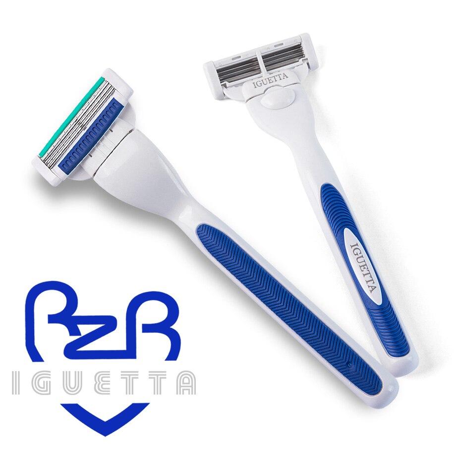 RZRIGUETTA 8Pc/Set Razor Blade Men High Quality Steel Blade Shaving Razor Cartridge 4 Layers Blade Razor Beard Body Hair Remover