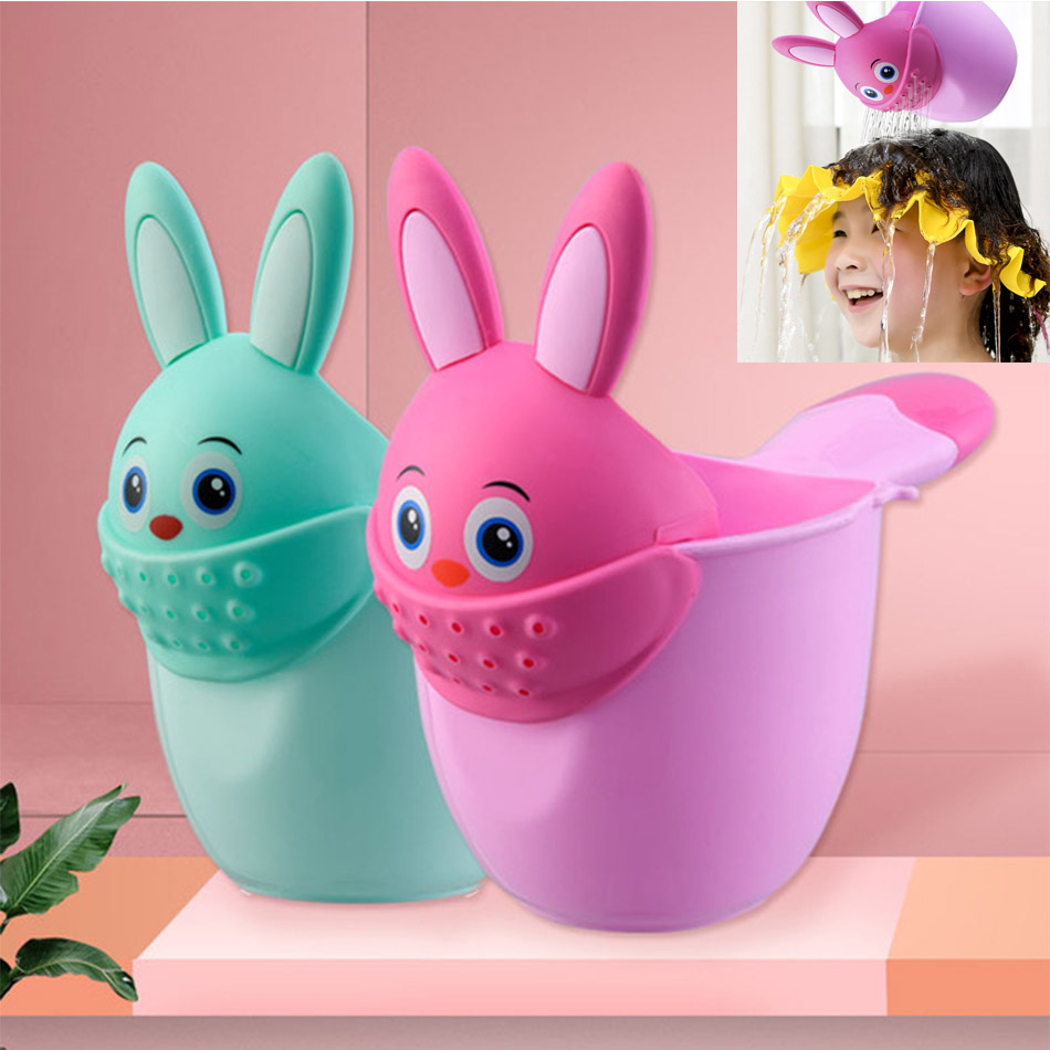 Newborn Child Shower Shampoo Cup Shampoo Cap Baby Cartoon Rabbit Shower Cup Baby Shower Water Spoon Bath Cup Watering Cup