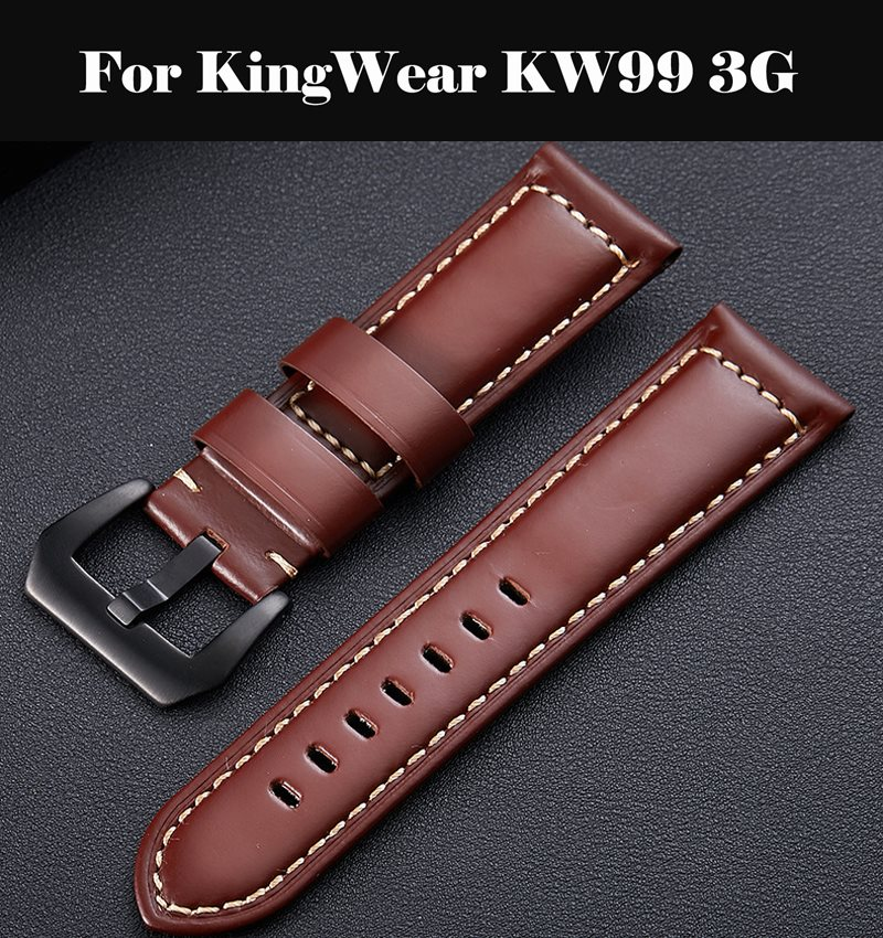 Watch Bracelet Belt Black Watchbands Genuine Leather <font><b>Strap</b></font> Watch Band 18mm 20mm 22mm Quartz Watch Bands For KingWear <font><b>KW99</b></font> 3G image