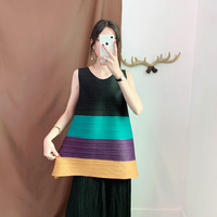 Issey Miyake Pleated Shirts Classic Color Matching Sleeveless Tee Top Round Neck Casual Loose Fashion Women T shirts