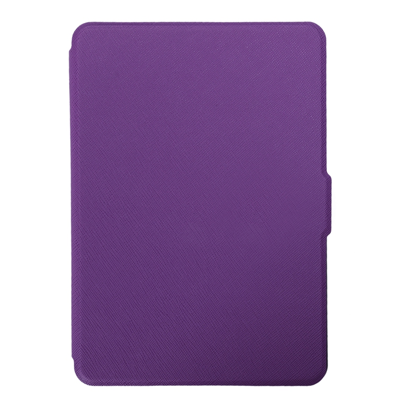 Magnetic PU Leather Cover Case Slim For Amazon Kindle Paperwhite (Cross Pattern, Purple)