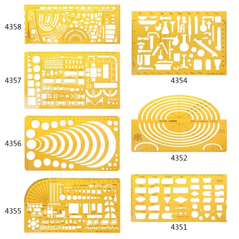 Regla de 23 estilos, duradera Plantilla de dibujo militar de resina K para muebles de construcción, plantilla de dibujo y regla, herramienta de medición