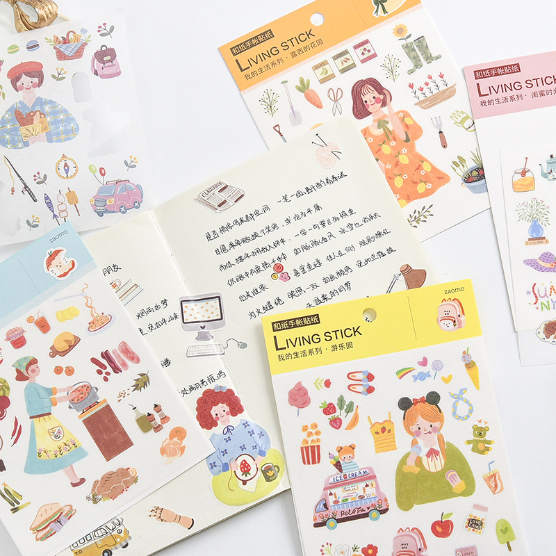 Creative Cute Girl Stickers Scrapbooking Kawaii Handbook DIY Bullet Journal  Sticker Daily Life Diary Stationary Supplies 06569