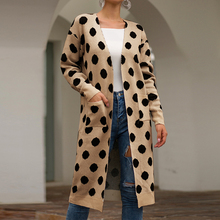 Women Dot Knitted Long Cardigan Sleeve Sweater Overcoat For Female 2019 Autumn New Outwear Coat Size S-XL