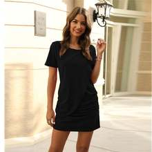 Sexy dresses women summer mini dress short sleeve solid bodycon