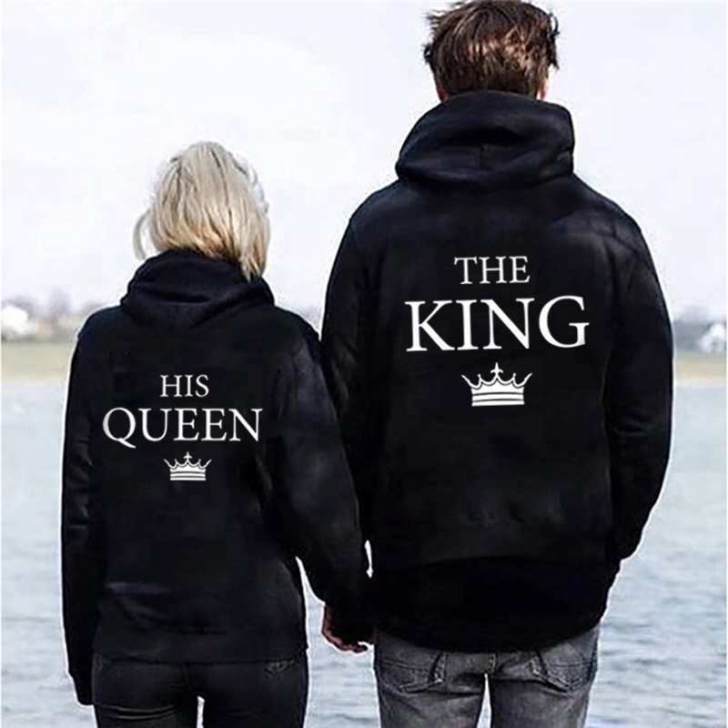 Ins Fashion King And Queen Sweatshirt Aesthetic Hoodie Pull Harajuku Long Sleeve Letter Print Online Shop Black Womens Clothing