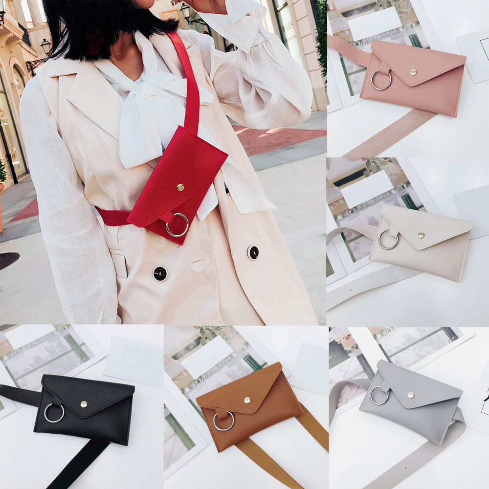 Woman Waist Bag Explosion Chest Bag Ring PU Leather Hasp Shoulder Personality Banana Pack Heuptas Fashion Casual Belt Bag #M